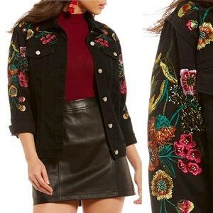 Gianni bini black embroidered denim jacket nwot M